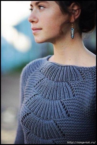 Необычный узор спицами для платья
