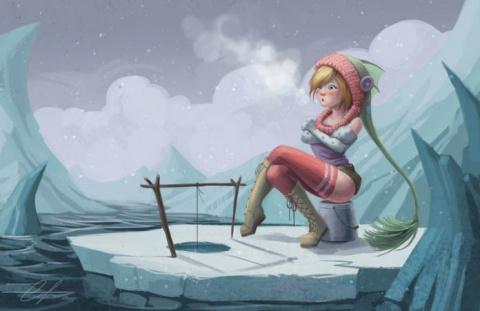 Блондинка решает, что ей нужно новое зимнее хобби