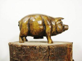 Деревянная свинья-копилка св…