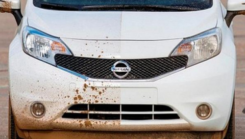 Краска от Nissan, которая отталкивает воду и грязь