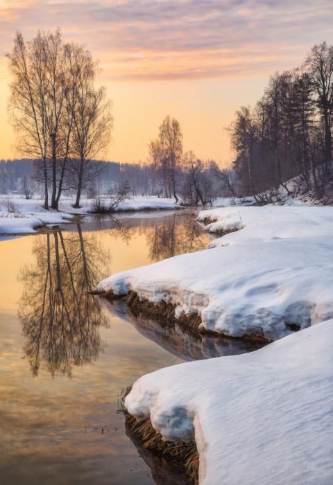 А снег, он как и дождь, его услышать надо... Фотограф Евгений Ерохин