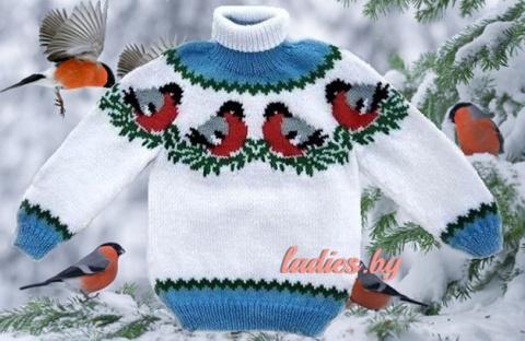 """Красивый детский свитер """"Снегири"""""""