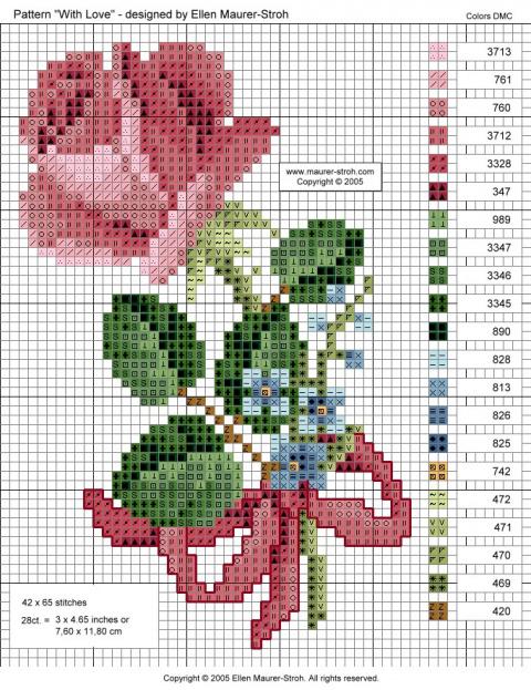 вышивки несколько схем роз