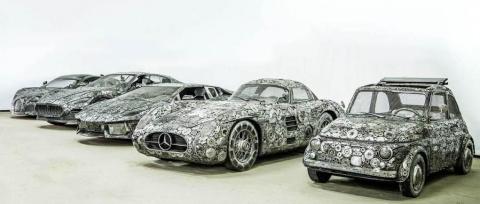 Впечатляющая экспозиция автомобилей, собранных из металлолома