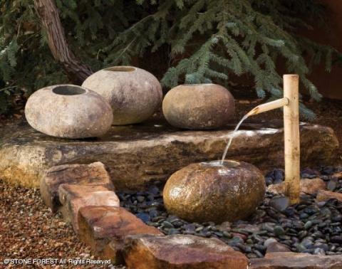 Каменные фонтаны — чаши для сада