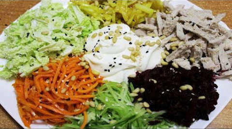 Вкусный французский салат с мясом