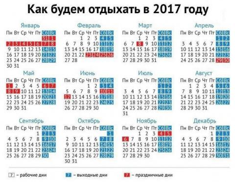 Сколько будет в 2017 году выходных?...