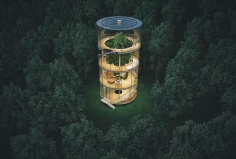Cтеклянный дом в виде… трубы…