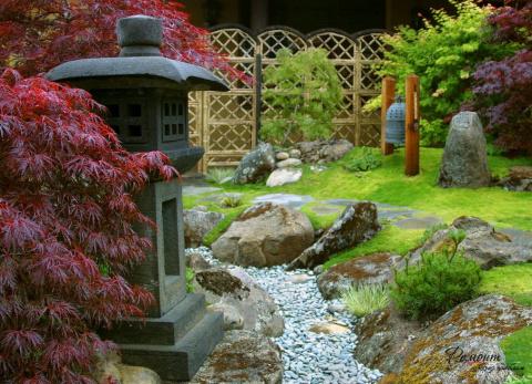 Сухой ручей - идиллия в саду