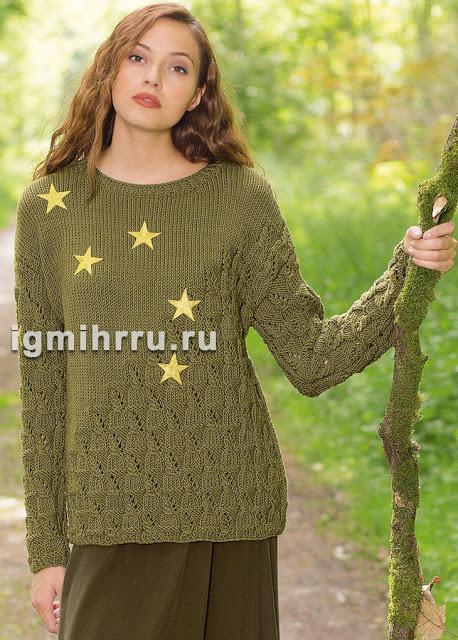 Оливковый пуловер спицами