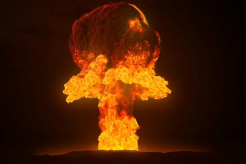 Учения. Взлетает ядерный бомбардировщик и вдруг у него что-то отваливается…