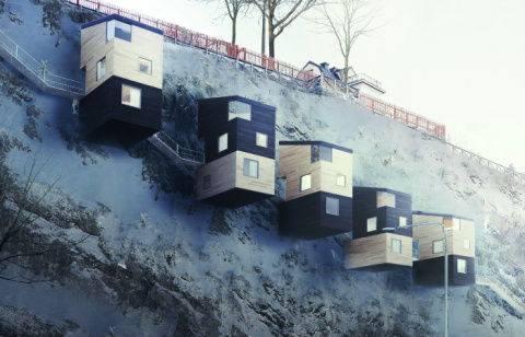 Дома, закрепленные прямо на скалах