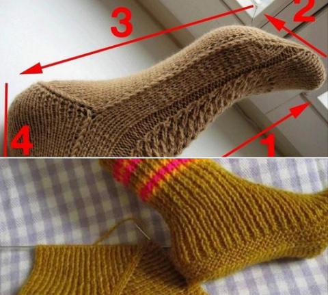 Вязание носков на двух спица…