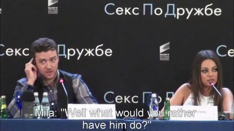 Российская журналистка задала глупый вопрос Джастину Тимберлейку… И тут Мила Кунис осадила ее по-русски!