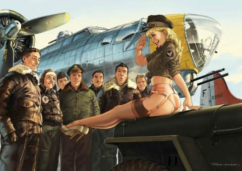 Авиационный pin-up от французского художника Romain Hugault