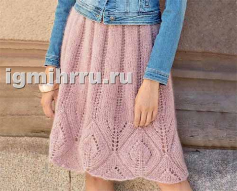 Мохеровая юбка с ажурным бордюром
