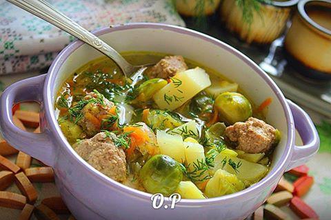Суп с брюссельской капустой …