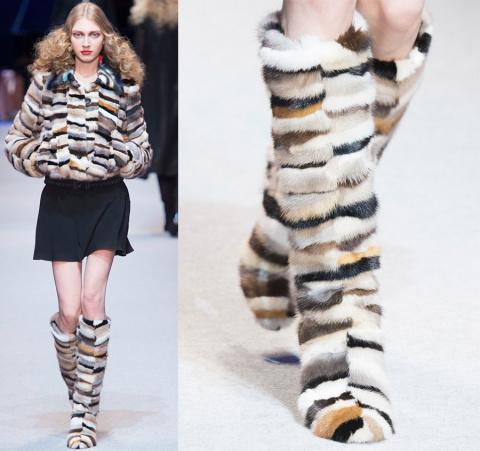 Пушистая обувь на холодный сезон