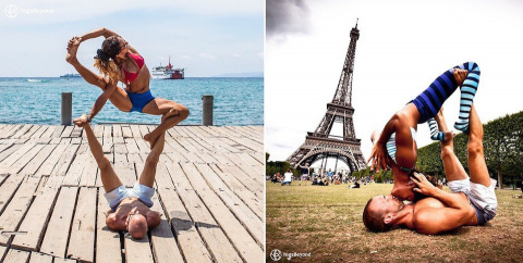 Влюблённая пара демонстрирует откровенные позы из йоги на улицах городов