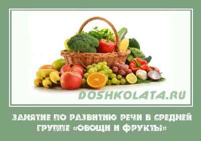 Занятие в средней группе «Овощи и фрукты»