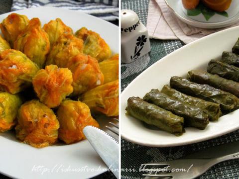 Долма с рыбой по-гречески (из виноградных листьев и цветков кабачка)