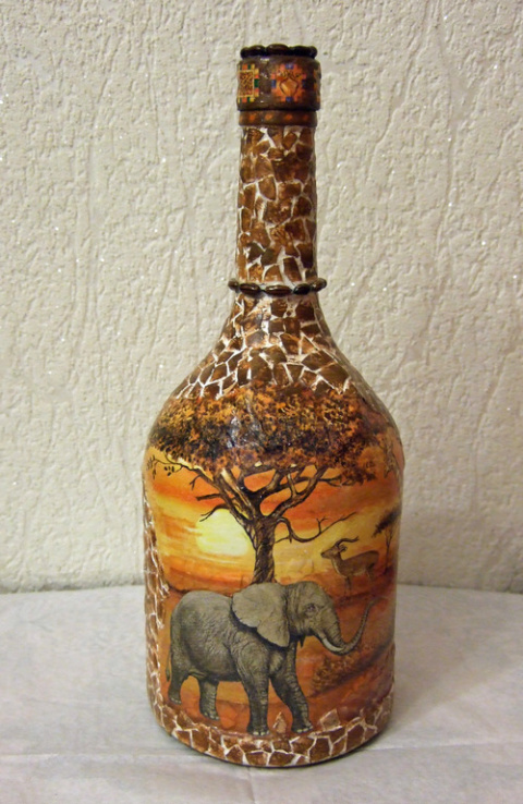 Декорирование бутылки. Снова африканские мотивы)))