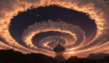 Светящаяся спираль в небе на…