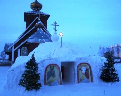 Снежные фигуры. Рожество Христово -поклонение волхвов