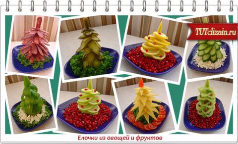 """Новый год к нам в гости мчится! Оригинальные """"ёлочки"""" из овощей и фруктов."""