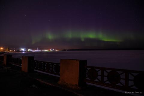 Северное сияние украсило небо над Петрозаводском