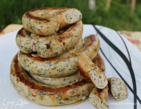 Куриные колбаски с зеленью и…