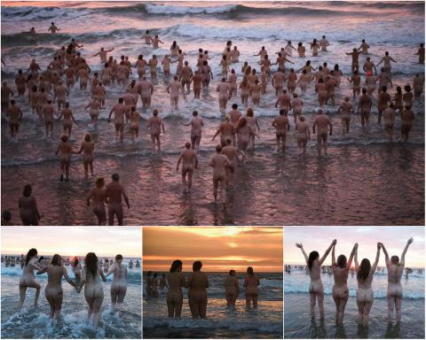 Сотни голых смельчаков окунулись в холодные воды Северного моря