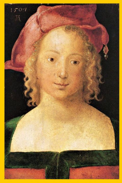 Портрет молодой девушки с красным беретом