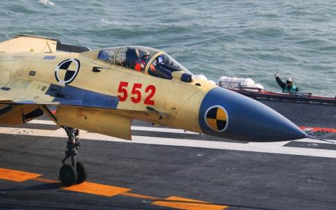 Первая успешная посадка на палубу J-15.