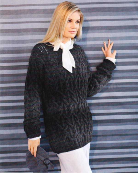 Рельефный пуловер из пряжи секционного крашения