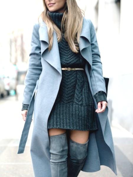 Идеальный вариант в холодное время года — трикотажное платье