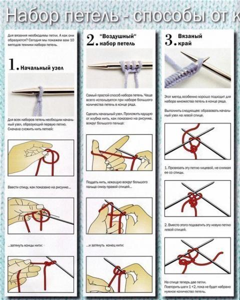 Вязание: несколько способов набора петель