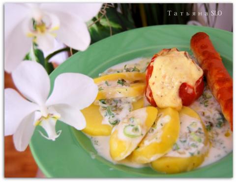 Запеченные помидоры с сыром и сосисками. Фото-рецепт.