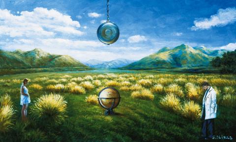 Текущее время параллельного мира в зеленой долине во время солнцестояния