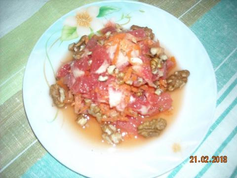 Салат из грейпфрута с орехами или Женский завтрак.