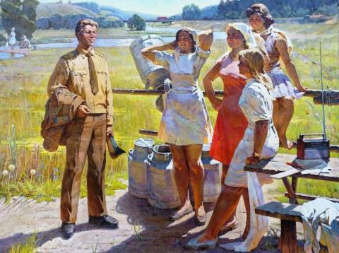 Что изображено на этой картине советских времён?