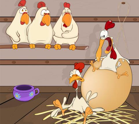 В одной деревне курица снесл…