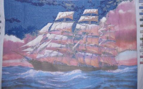 вышивка по канве с нанесенным рисунком