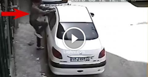 Ограбление закрытого автомобиля за 15 секунд. Вы не поверите своим глазам!