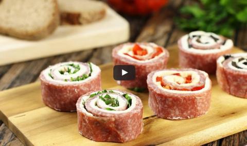 Рулетики из салями с сыром: …