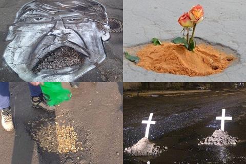 Карикатуры на чиновников, кресты, ковры: как жители Ижевска и других городов России борются с плохими дорогами
