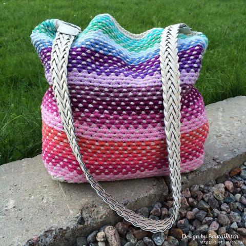 Оригинальный способ вязания сумки-мешка крючком