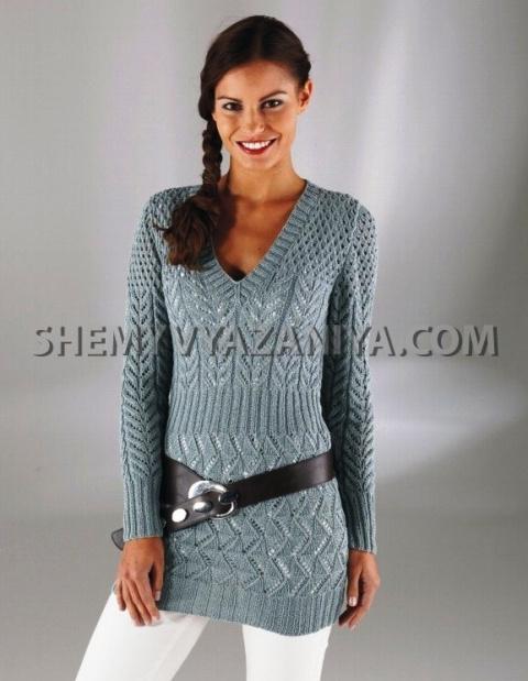 Длинный пуловер с V-образным вырезом