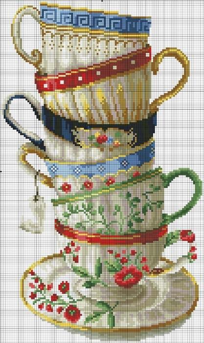 """Схема для вышивки крестом """"Очаровательные чашки"""""""