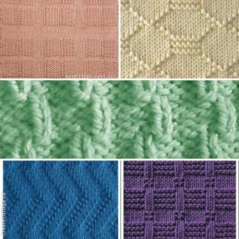 Простые узоры для вязания спицами из лицевых и изнаночных петель (подборка)